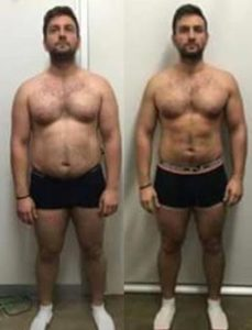 A frontal before and after showcasing a muscular body.